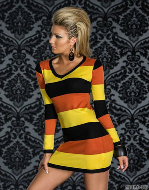 Supply Long Sleeve V-neck Bodycon Dress Contrast Color Sexy Striped Bandage Dress Women Casual Wear Dresses N095 Yellow-Black