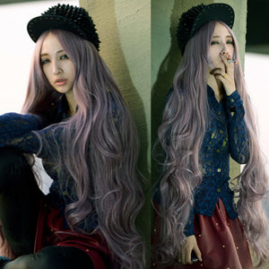 100cm Long Bangs hair full wigs Wavy Curly Cosplay party anime Womens wig Brown Gray Hair Wigs/Wig