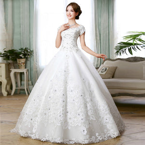 Vintage Slit Neckline Royal Wedding Dresses Handmade Embroidery Wedding Dress 2014 Wedding Gown Vestidos de noiva 192425147