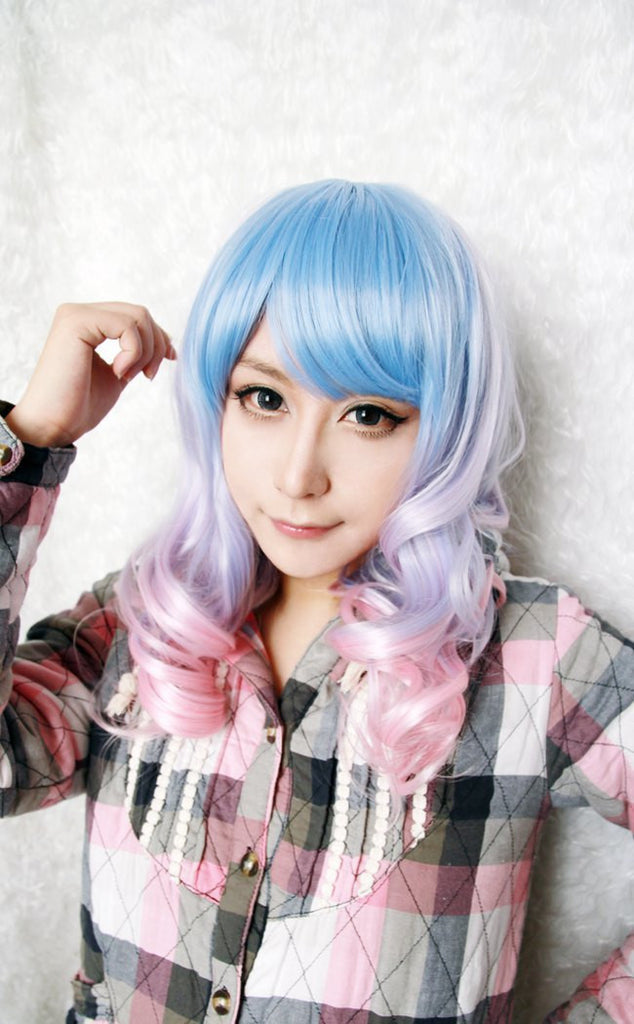 Beautiful Long Curly Anime Cosplay Gothic Lolita Ombre Wigcolorful