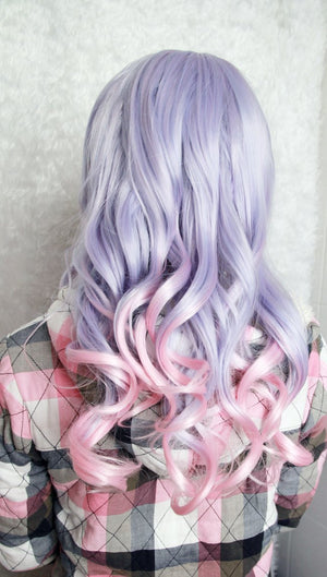 Beautiful Long Curly Anime Cosplay Gothic Ombre Wig,Colorful Candy Colored synthetic Hair Extension Hair piece 1pcs WIG-229A