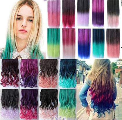 24 Colors Women Two Tone Ombre Hair Highlights Curly Hair Colorful Hair  Extension Clip on Hairpieces Clip in Hair Extensions 1PCS 996d39affd