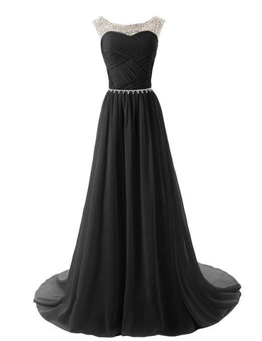 2015 Evening Dresses A Line Sleeveless Floor length Dress star Chiffon Zipper Up  dress Long beaded straps Bridesmaid prom Dress Beading Ball Gown with sparkling embellished waist-Black 142214124 SD184