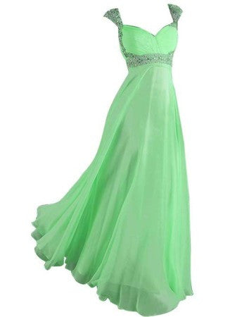 Womens Cap Sleeve Evening Dresses Chiffon Prom Gown 2015 Old