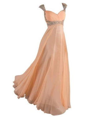 Women's Cap Sleeve Evening Dresses Chiffon Prom Gown 2015 old hollywood prom dresses vestidos de baile Stock A-line evening dresses vestido de noite sweetheart elegant waist beads cheap long prom dress M-158 5684853 142212477514