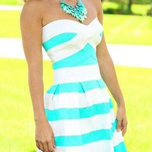 Elegant Stripe Print Strapless Dress White And Blue