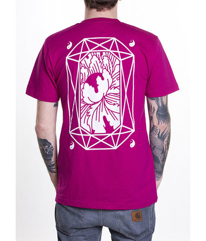 T-shirt homme rose manches courtes sérigraphie blanche