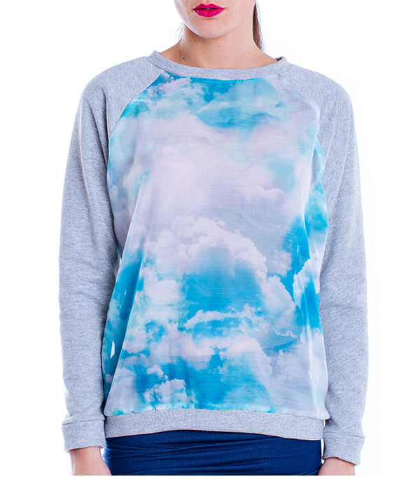 Sweat oversized nuages manches longues