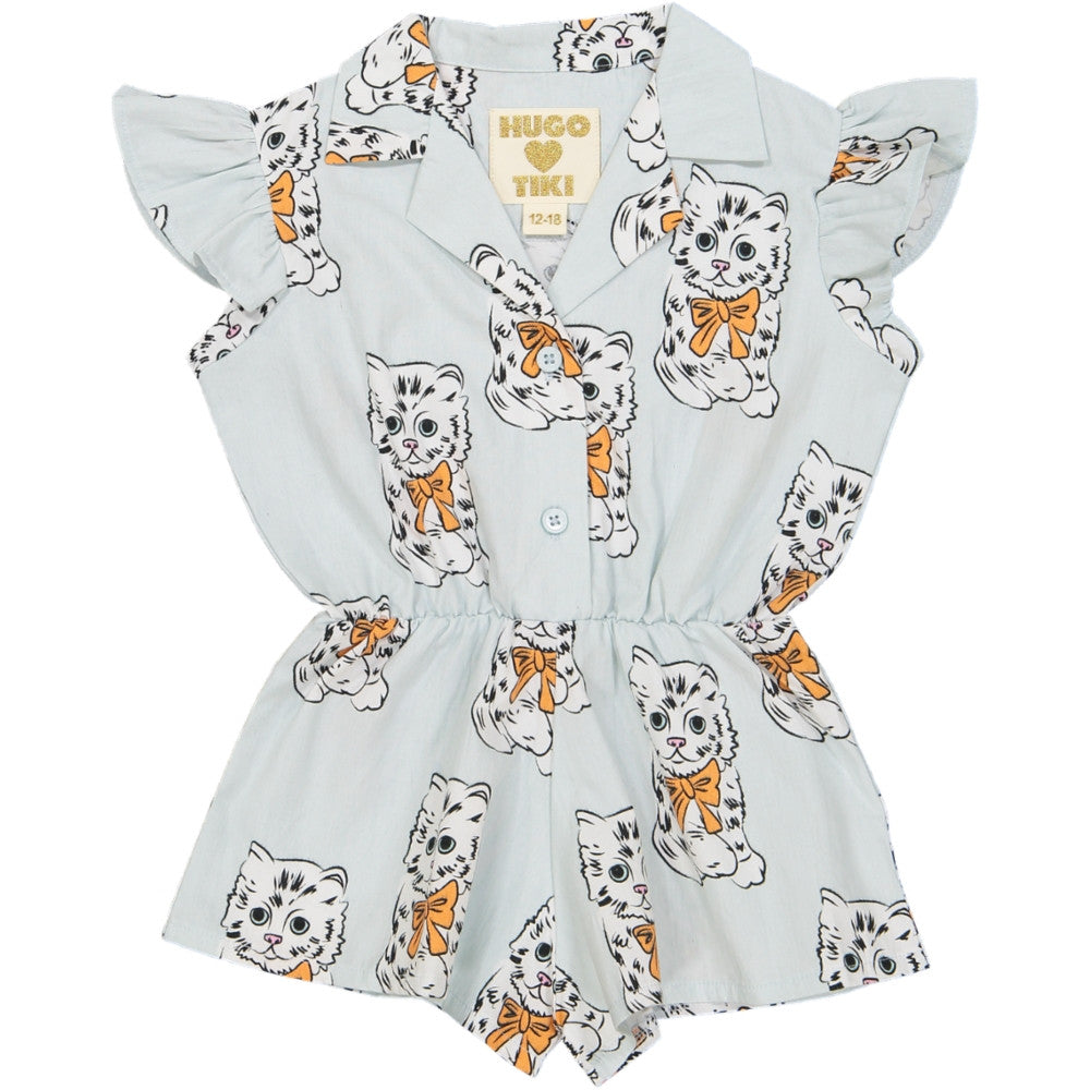 072e8f0bbf7d Hugo Loves Tiki Blue Kitty Ruffled Playsuit - My Mini Me