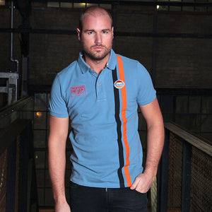 Gulf Stripe Polo Gulf Blue