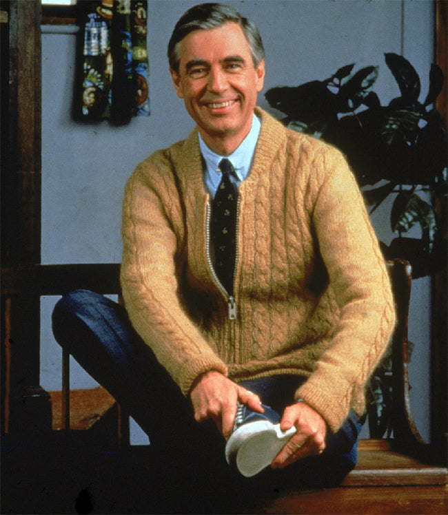 This is Mr. Rogers Putting on his Slippers