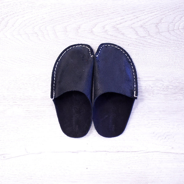 Black Leather Kids Slipper