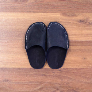 Black Leather Kids Slipper - CP Slippers