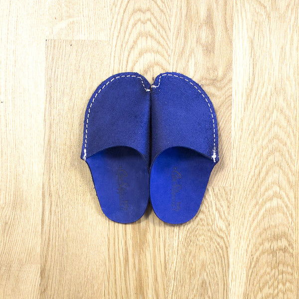 Blue Leather Kids Slipper