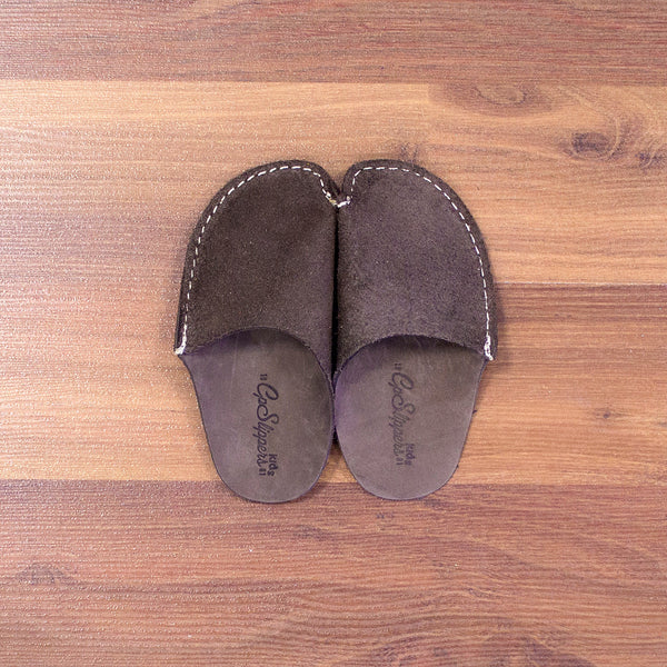 Brown Leather Kids Slipper