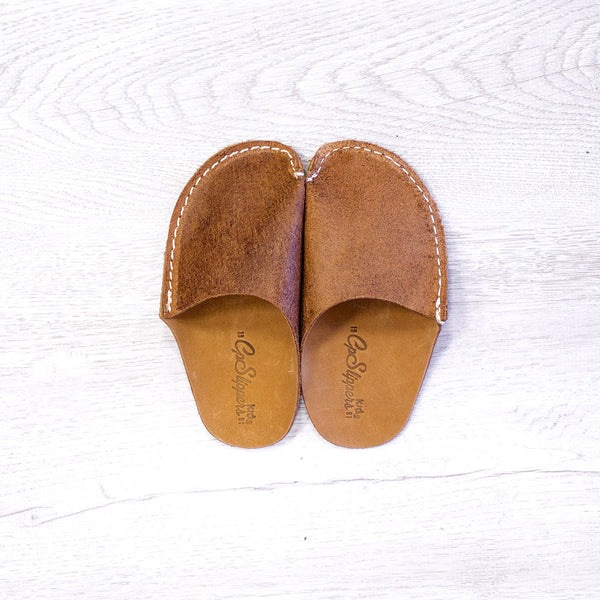 Tan Leather Kids Slipper