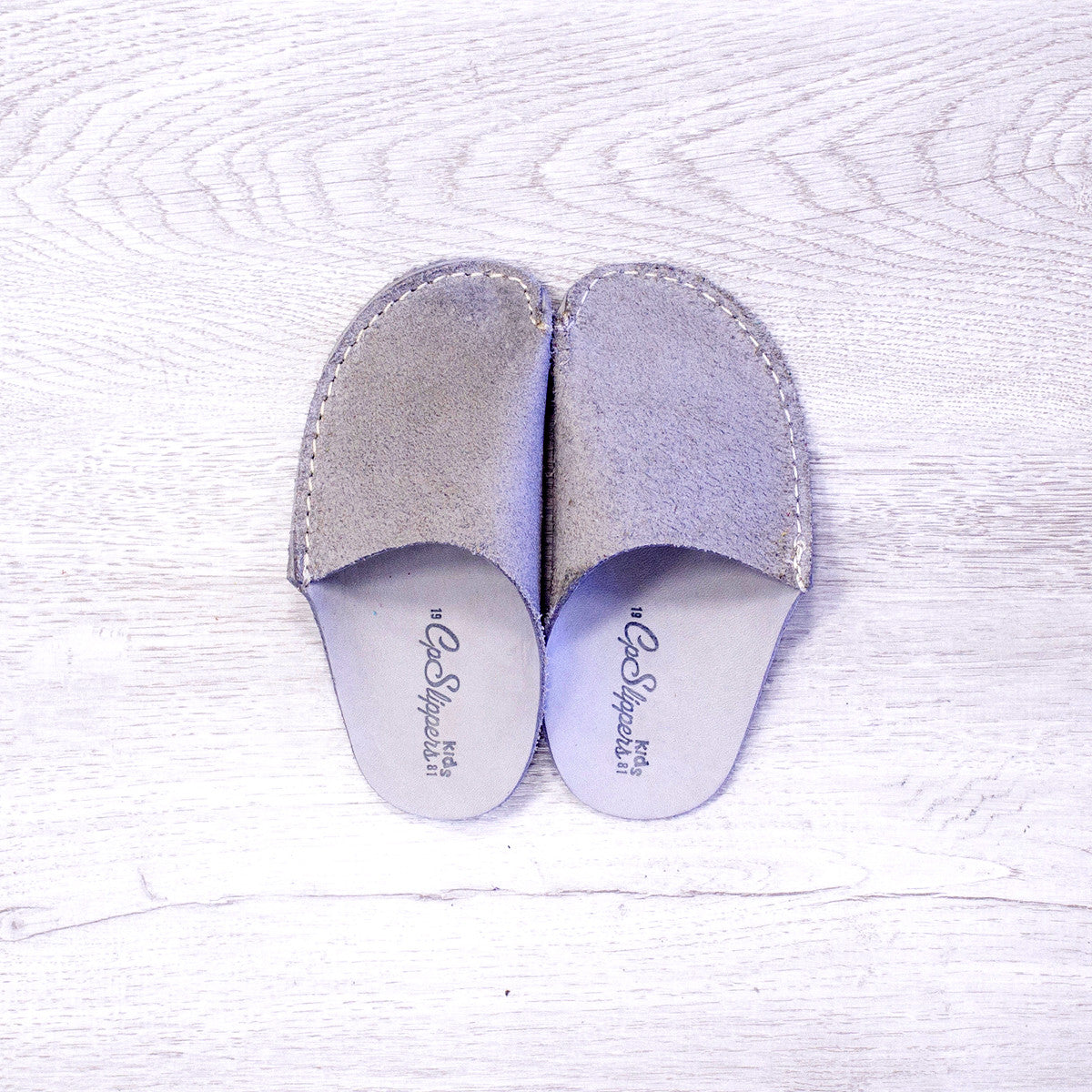 Gray Leather Kids Slipper - CP Slippers