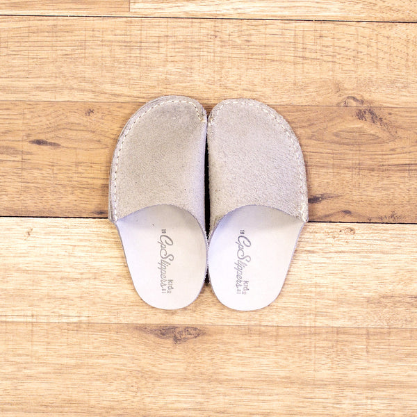 c09b63fee Gray Leather Kids Slipper - CP Slippers