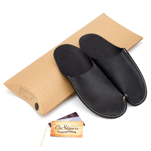 Black Leather House Shoes Slippers. Black Leather Slippers Mens and Ladies by CP Slippers