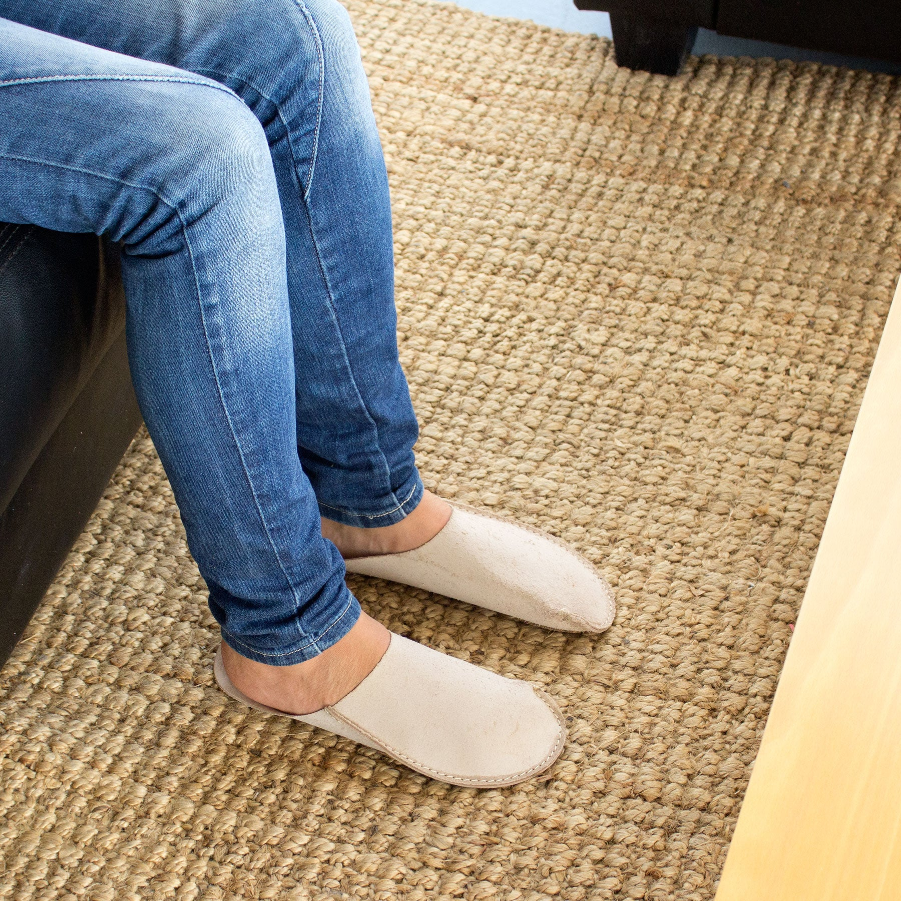 Natural CP Slippers minimalist in vachetta leather for home shoes