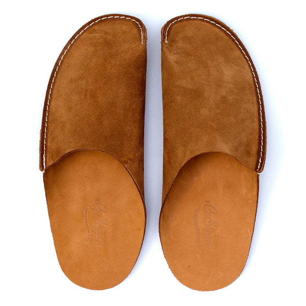 newest collection separation shoes outlet store sale Tan Leather Slippers for men and women by CP Slippers Minimalist