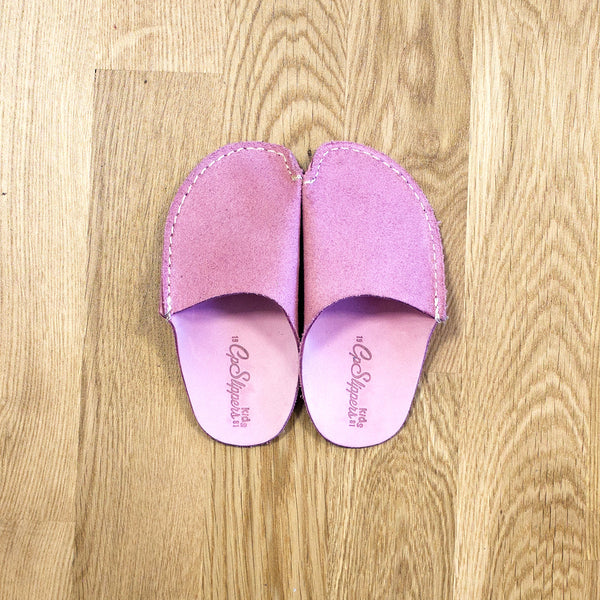 Pink Leather Kids Slipper