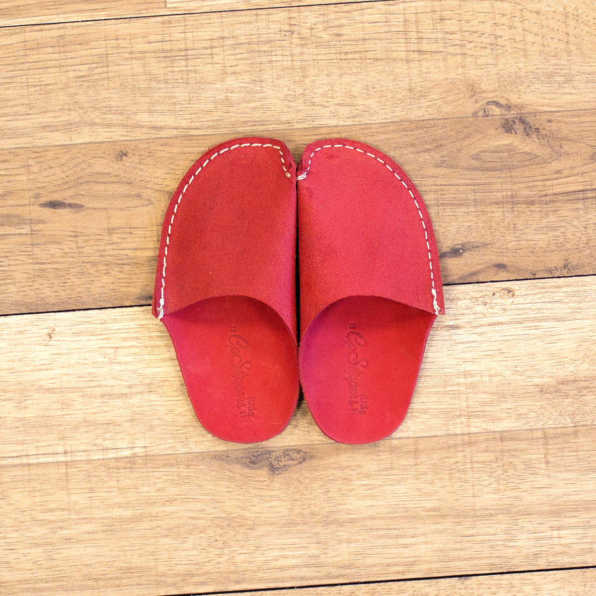 Red Leather Kids Slipper - CP Slippers