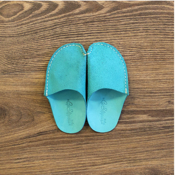 Turquoise Leather Kids Slipper