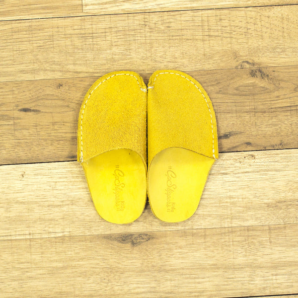 Yellow Leather Kids Slipper