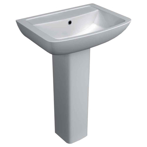 Pure 550mm 1TH Basin with pedestal