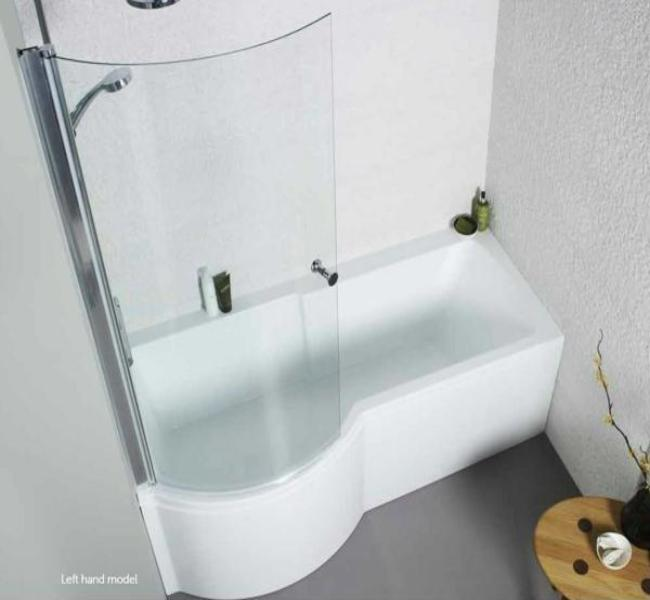 Adapt P Shaped Shower Bath Complete With Panels And Bath Screen (Click To View Various Sizes)