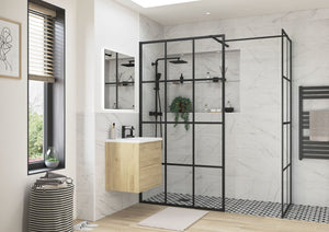RefleXion Iconix Wetroom Panel Framed Black And Optional Side Panel