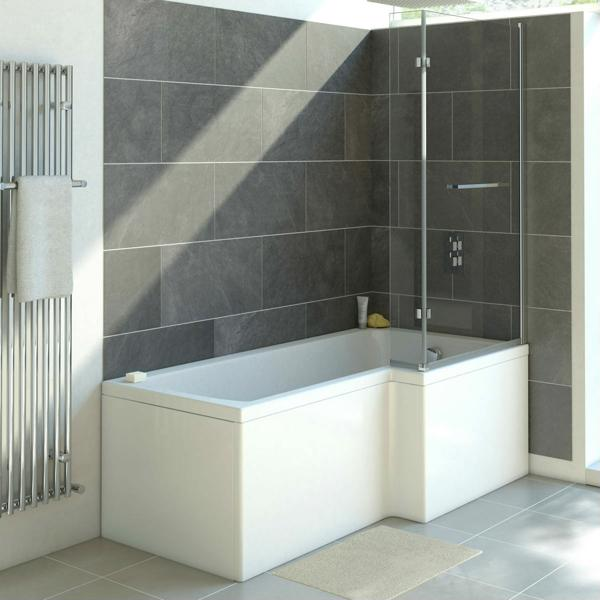 Solarna L Shape Shower Bath Complete With Panels And Screen (Click To View Size Options)