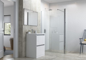 RefleXion Flex Wetroom Panel With 300mm Rotatable Panel and Support Bar And Optional Side Panel
