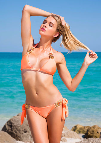 She's A Beauty Orange Triangle Bikini