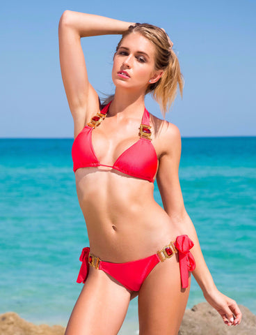 She's A Beauty Red Triangle Bikini