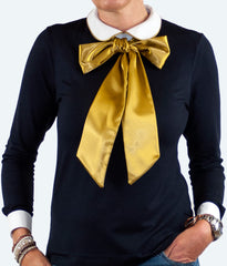 women's pussy bow blouse satin tie