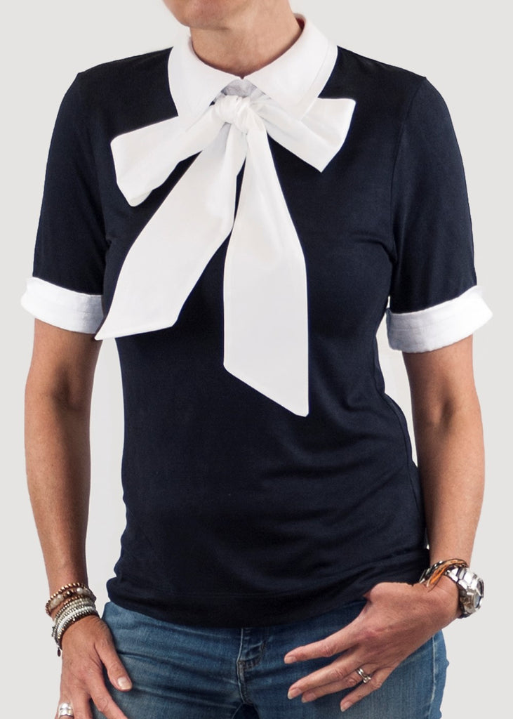 women's navy white pussy bow collared top shirt