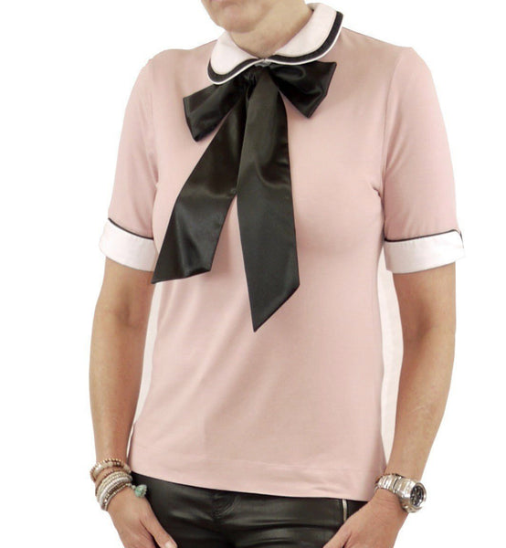 Women's Peter Pan  Collar with pussybow tie - ivory/black/pink - short sleeved