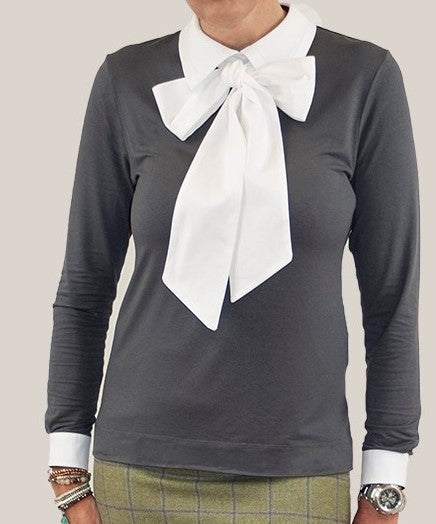 Women's Long Point Collared Top with pussybow tie- charcoal/white - long sleeved