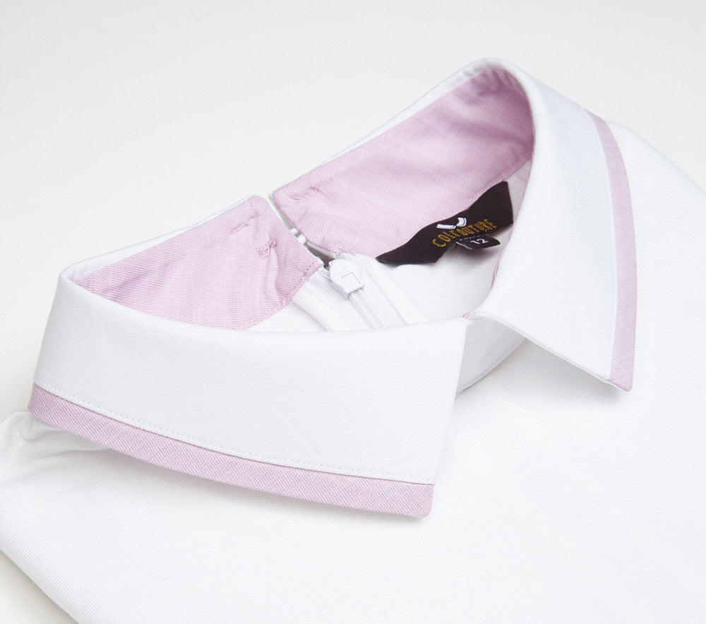 women's white pussy bow shirt collared top with lilac trim