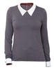 Long point collared women's jersey shirt top long sleeved charcoal