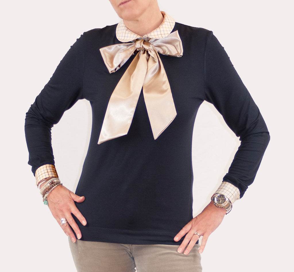 Country check round collared women's top satin pussy bow shirt
