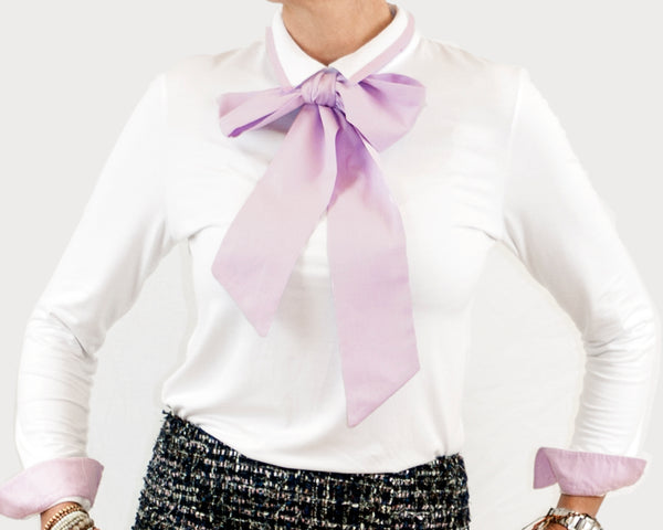 Women's Short Point Collar with pussybow - white/lilac - long sleeved