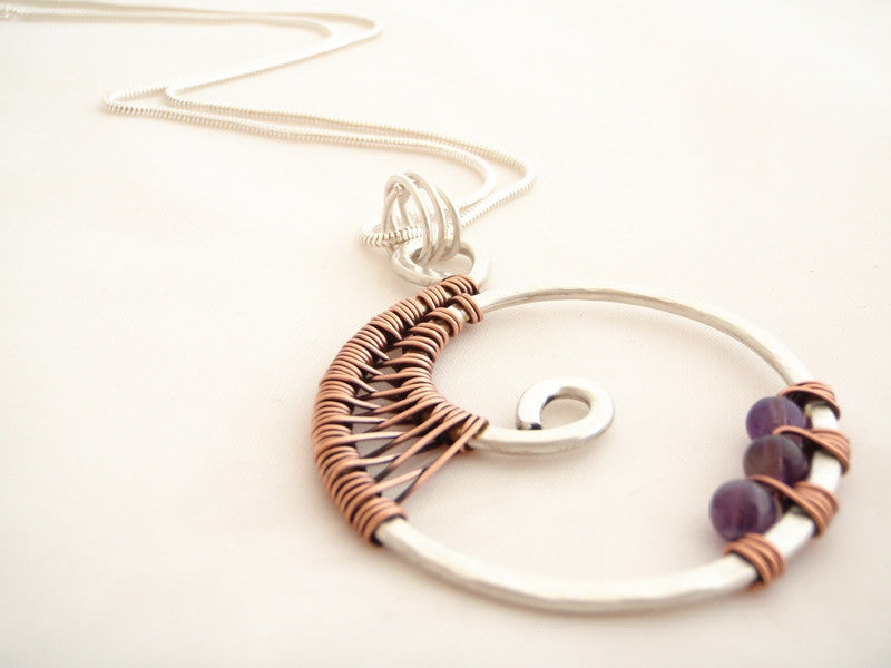 EASY: wire weave tutorial ~ Spiral pendant and earrings – Crafty ...