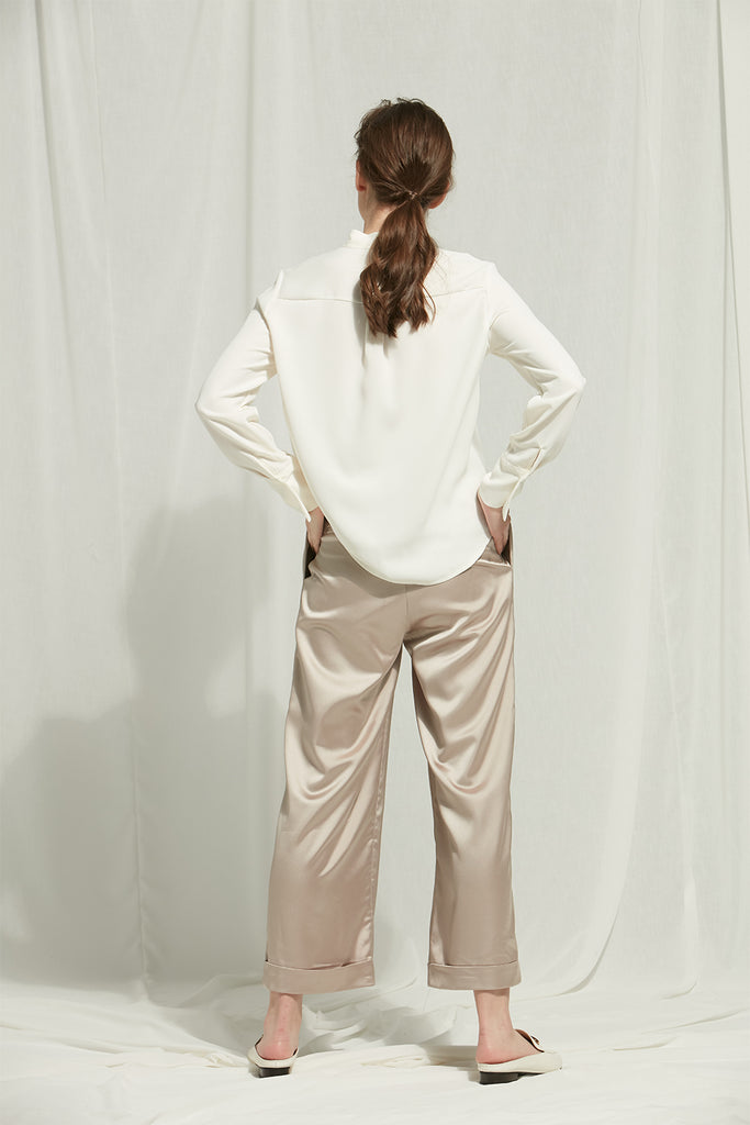 Chloe - Satin Wide-Leg Trousers With Elastic Waist - Zelle Studio