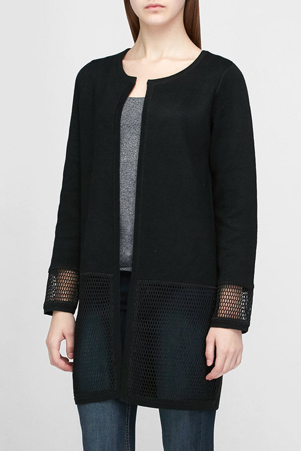 Danni - Open Front Cardigan with Mesh Sleeves - Zelle Studio