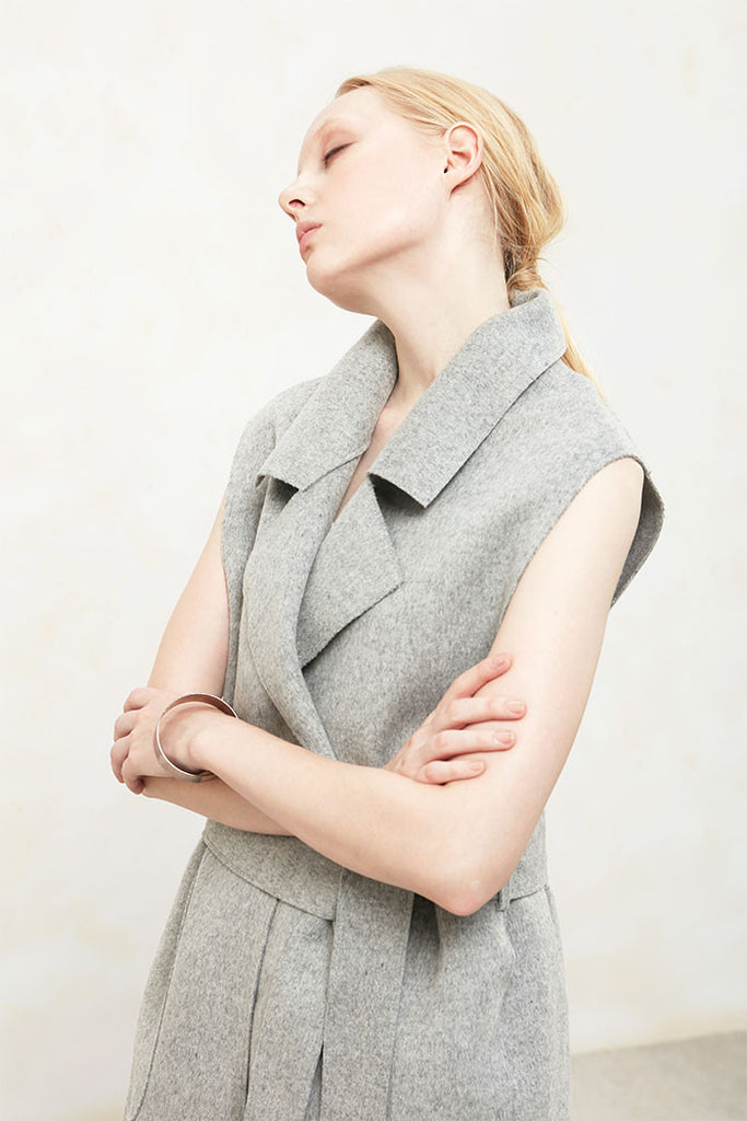 Althea - Collared and Belted Wool Gilet - Grey - Front