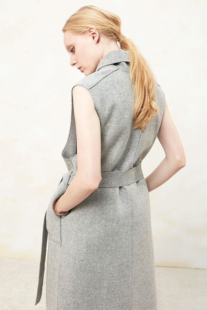 Althea - Collared and Belted Wool Gilet - Grey - Back
