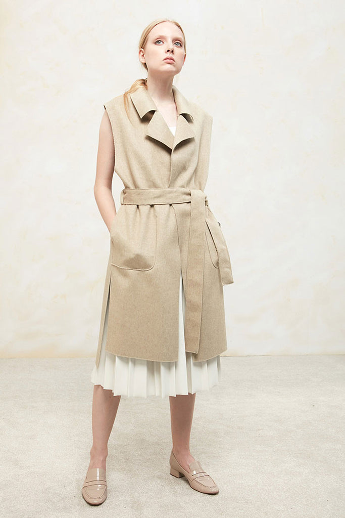Althea - Collared and Belted Wool Gilet - Beige - Look
